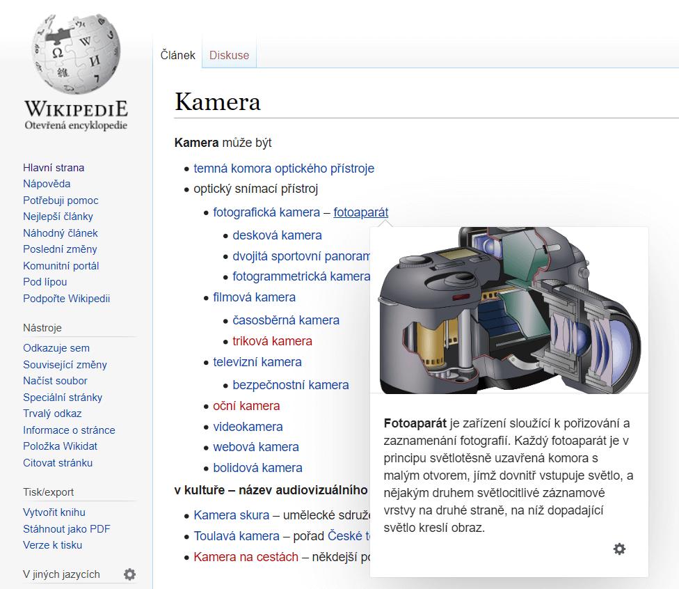 Wikipedia fotoaparát